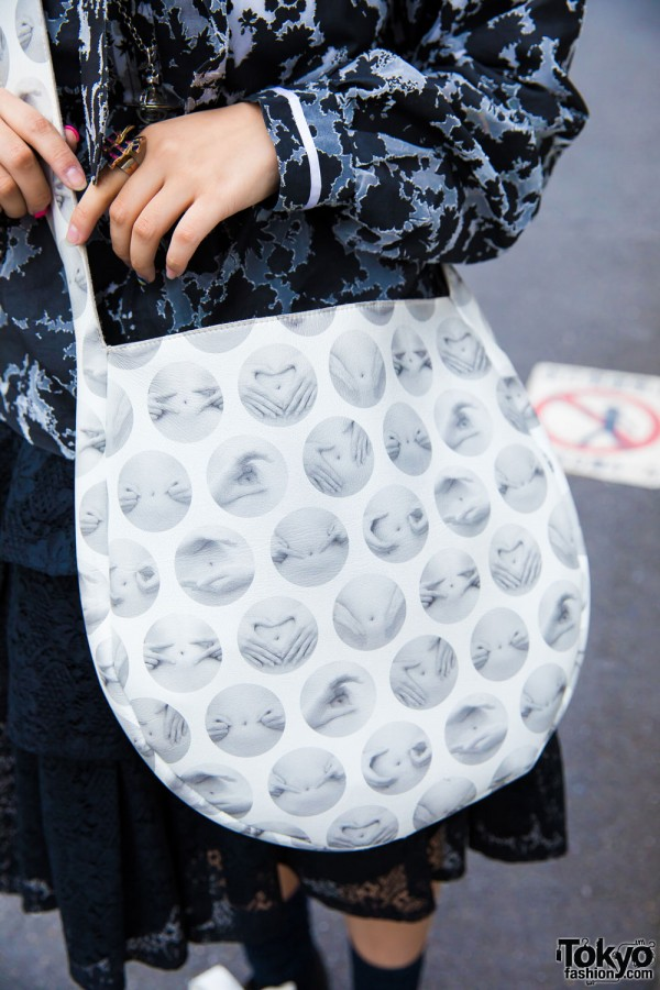 Tokyo Bopper Grey & White Print Sling Bag