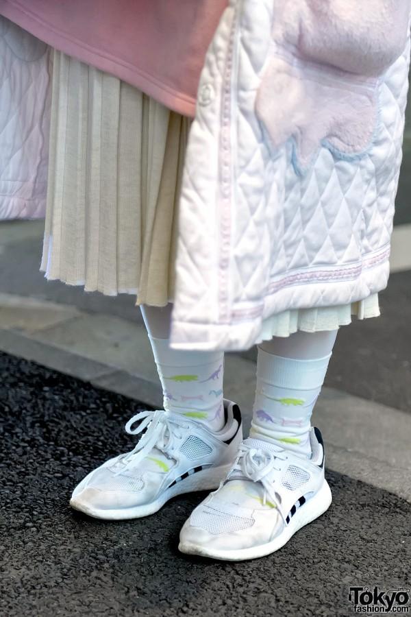 Dinosaur Socks & Adidas Sneakers