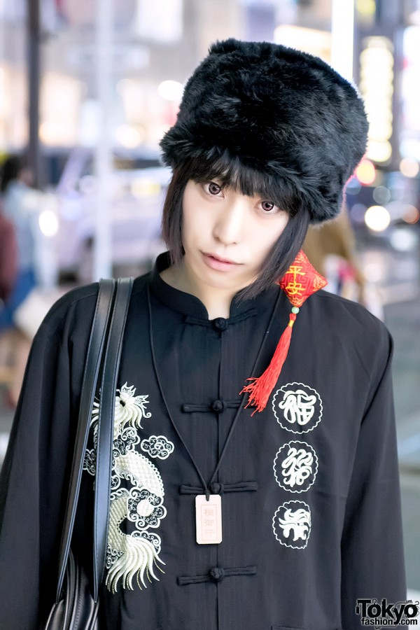 Fur Hat and Chinese Top in Harajuku