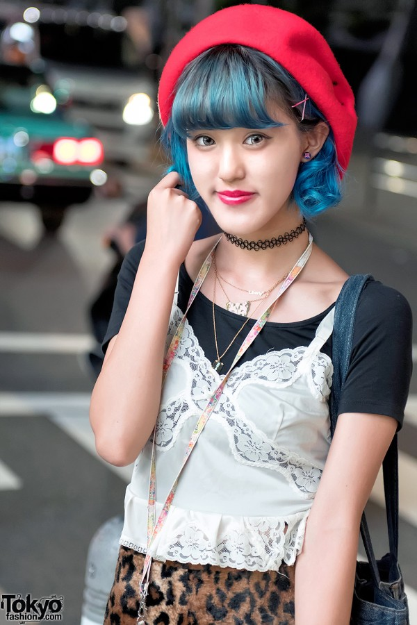 Blue Hair & Vintage Camisole