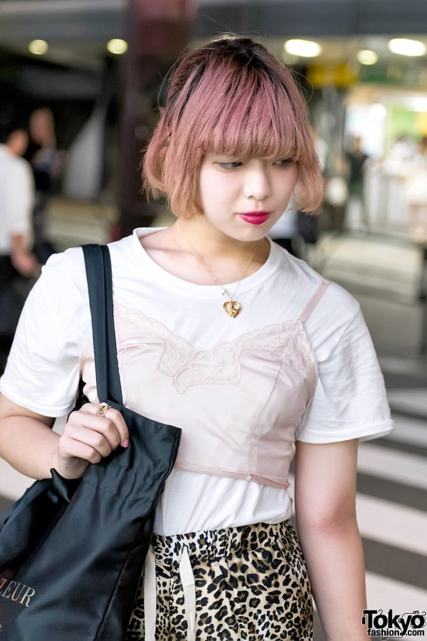 Pink Hair & Camisole Over T-Shirt