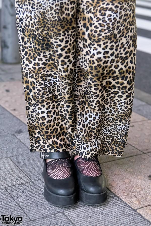 Leopard Print Pants, Net Socks & Platform Shoes