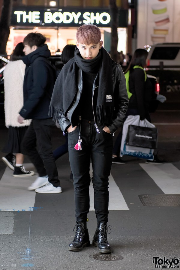 Harajuku Guy in Acne Studios Leather Jacket & Patent Dr. Martens