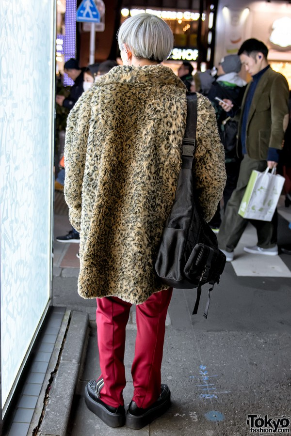 Faux Fur Animal Print Coat Harajuku Street Style