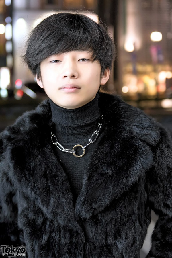Faux Fur Coat & Chain Necklace in Harajuku