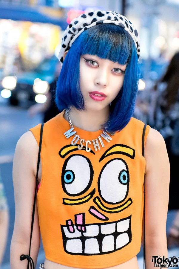 Blue Hair & Jeremy Scott Street Fashion