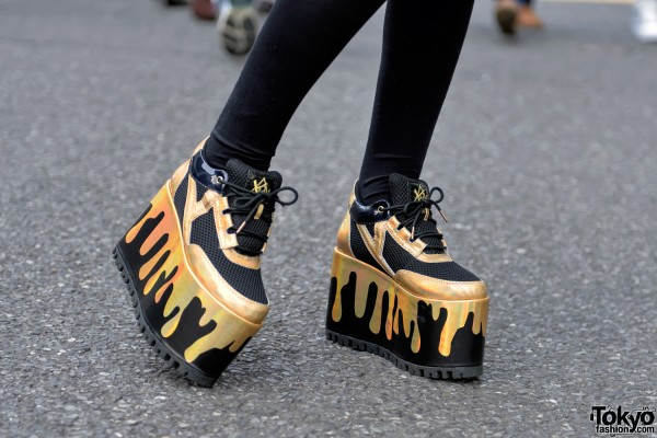 Gold Paint Dripping YRU Platform Shoes