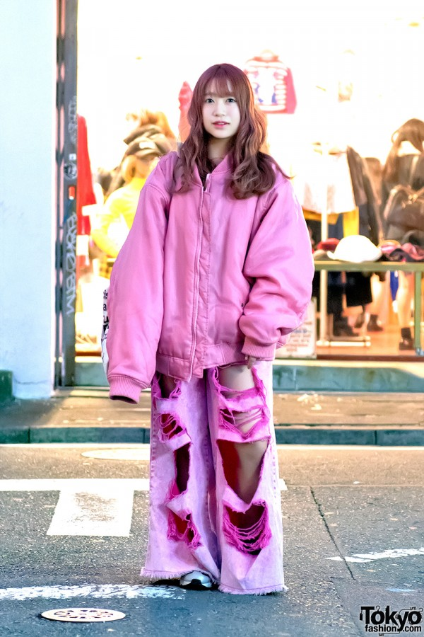 Little Sunny Bite Bomber Jacket & Pink Ripped Jeans in Harajuku