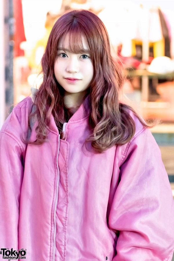 Harajuku Girl in Oversized Pink Bomber Jacket