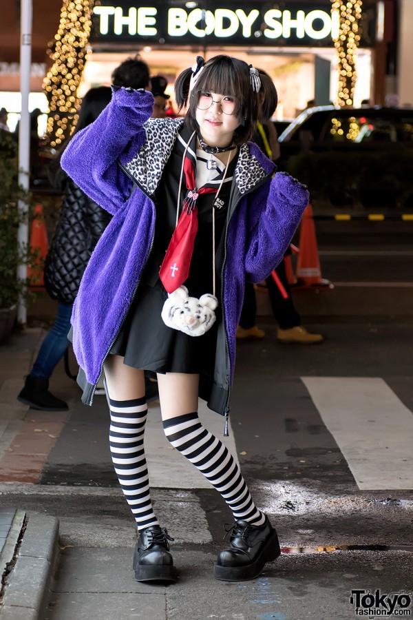 Harajuku Girl w/ Japanese Sailor Dress, Monster Hoodie, Demonia Platforms & Panda Backpack