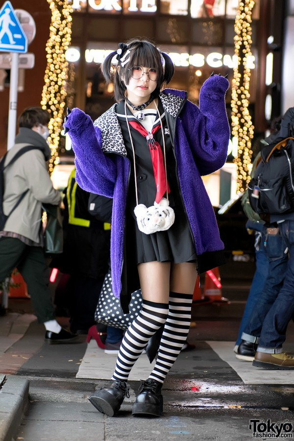 Harajuku Style w/ Striped Socks & Monster Hoodie