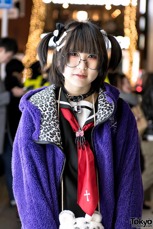 Harajuku Girl W Japanese Sailor Dress Monster Hoodie