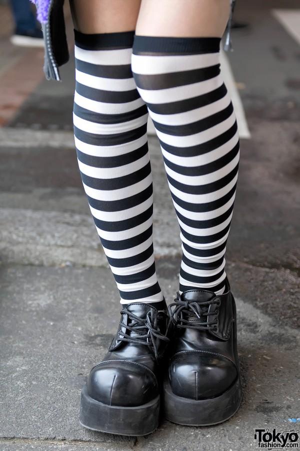 Striped Knee Socks & Demonia Platforms
