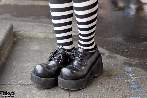 Demonia Platform Shoes & Striped Socks