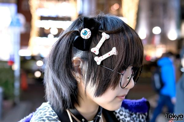 Eyeball Hair Bow & Bone Hair Clips