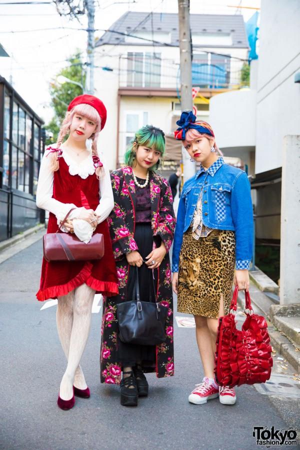 Harajuku Girls in Colorful Vintage Fashion w/ Burberry, Grimoire, Vivienne Westwood, Coach & Tokyo Bopper