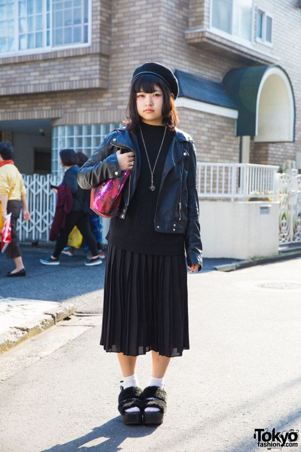Harajuku Girl in Leather Jacket & Pleated Skirt w/ H&M, Uniqlo, Vivienne Westwood & More