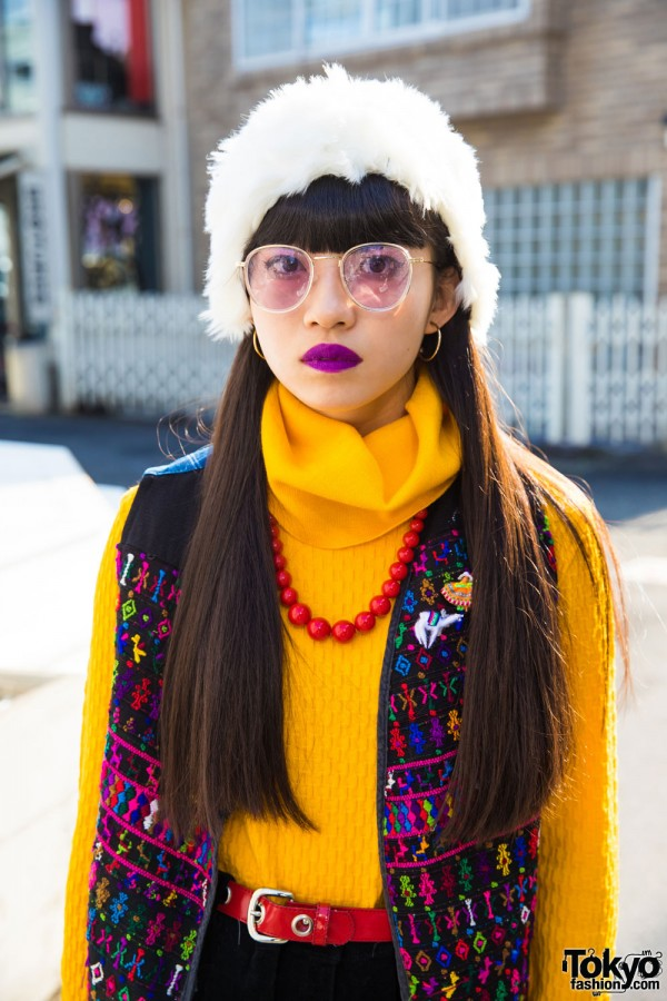 Yellow Turtleneck Sweater and Titicaca Vest
