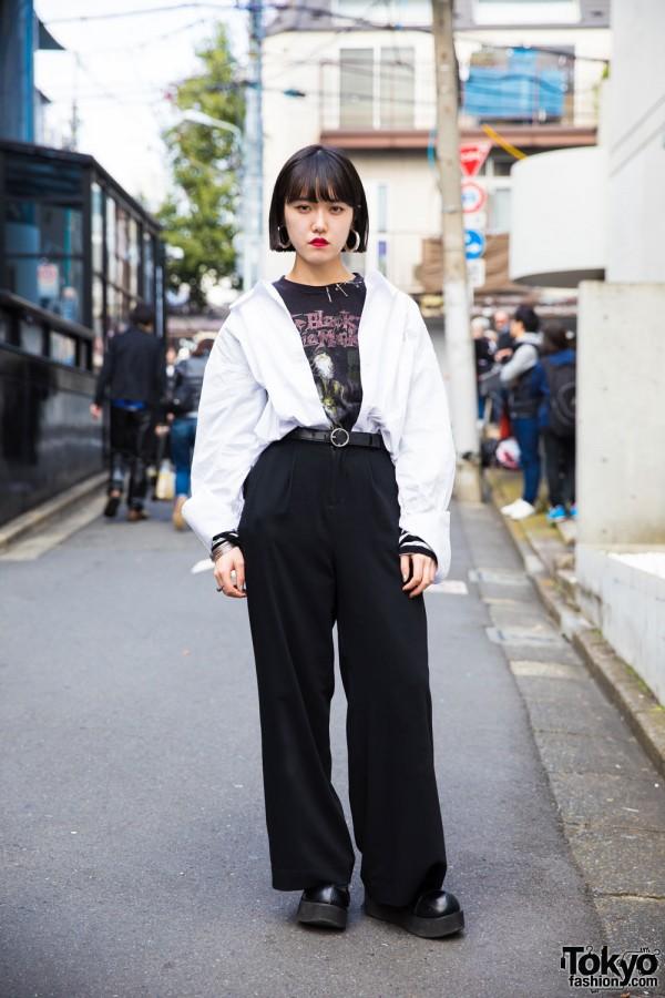 Harajuku Girl in Black & White Minimalist Style w/ Vintage Metal T-Shirt & Safety Pins