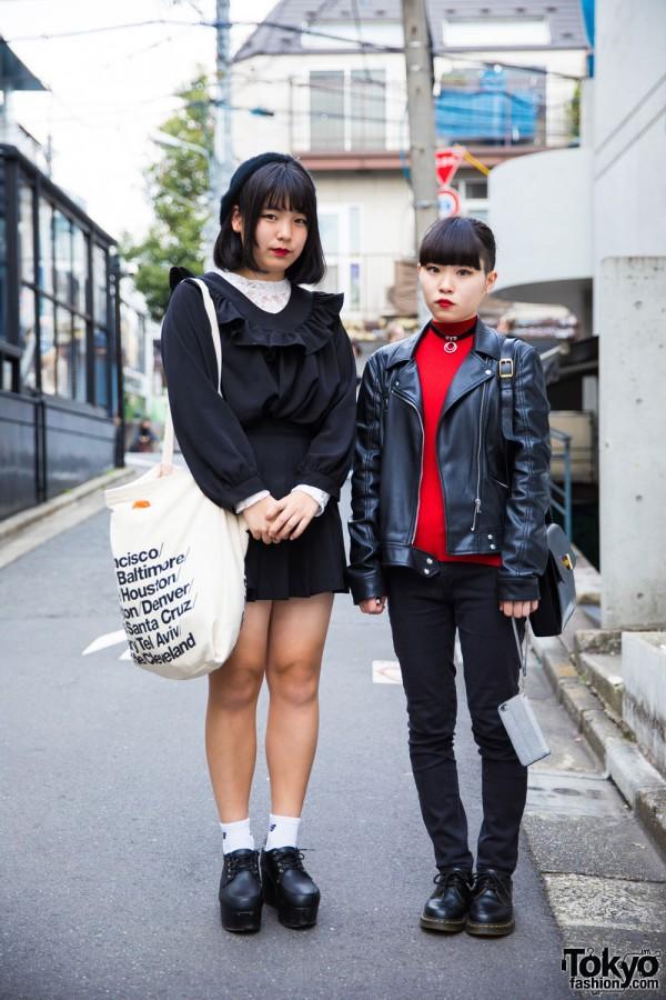 Harajuku Girls in Black/White & Black/Red Street Fashion w/ Zara, Dr. Martens, (ME), WEGO & More