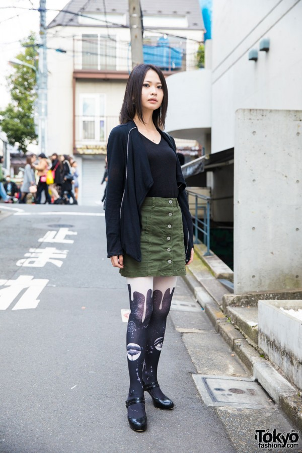 Black-Haired Harajuku Girl in Azul by Moussy, Decade & Anna Sui