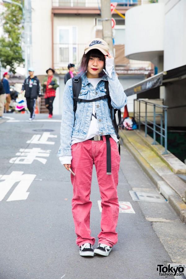 Rainbow-Haired Harajuku Girl in Denim on Denim Style w/ Ding, New Era & Vans