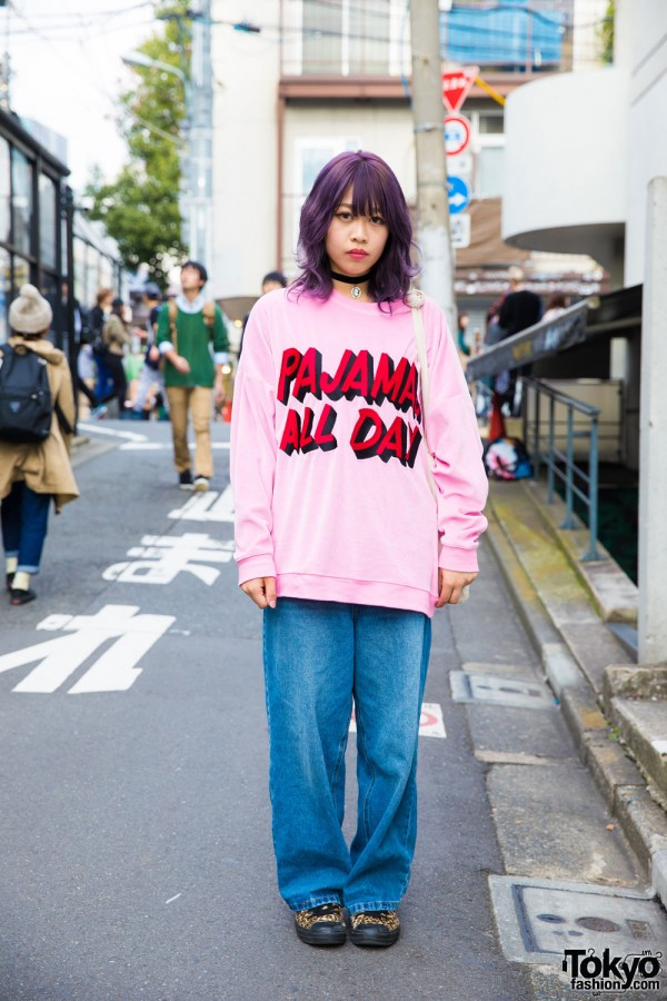 "Purple-Haired Harajuku Girl in Little Sunny Bite ""Pajamas All Day"" Sweatshirt & Vans Sneakers"