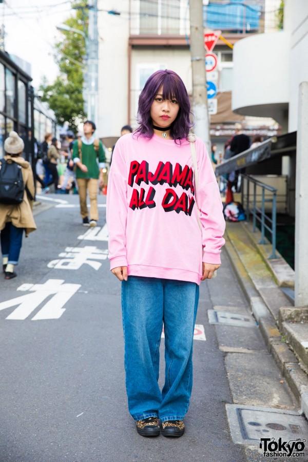 Harajuku Girl in Pink Sweatshirt & Denim