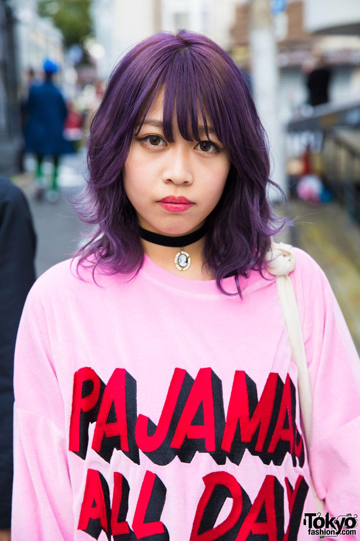"Purple-Haired Harajuku Girl in Little Sunny Bite ""Pajamas All Day"" Sweatshirt & Vans Sneakers"