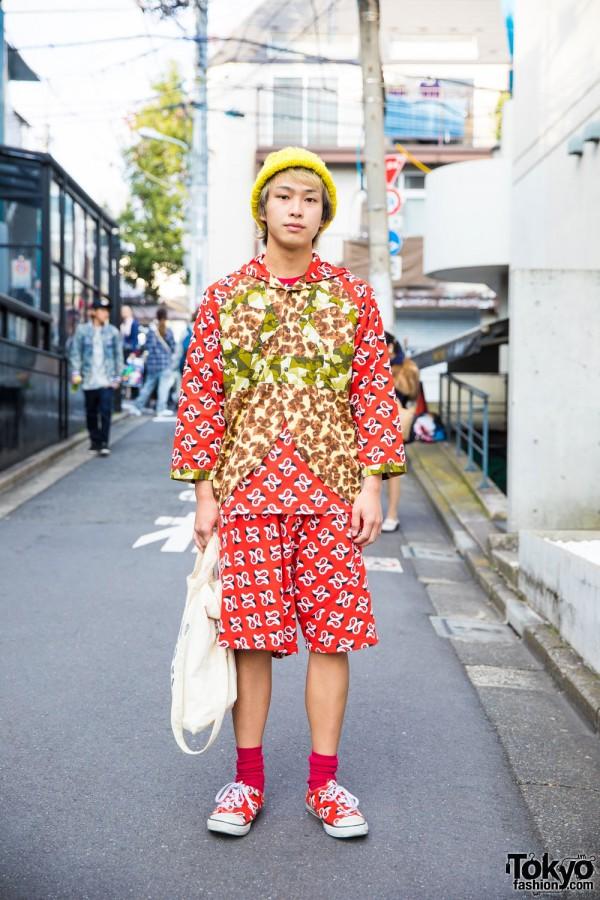 Ganryu Paisley Print Outfit in Harajuku