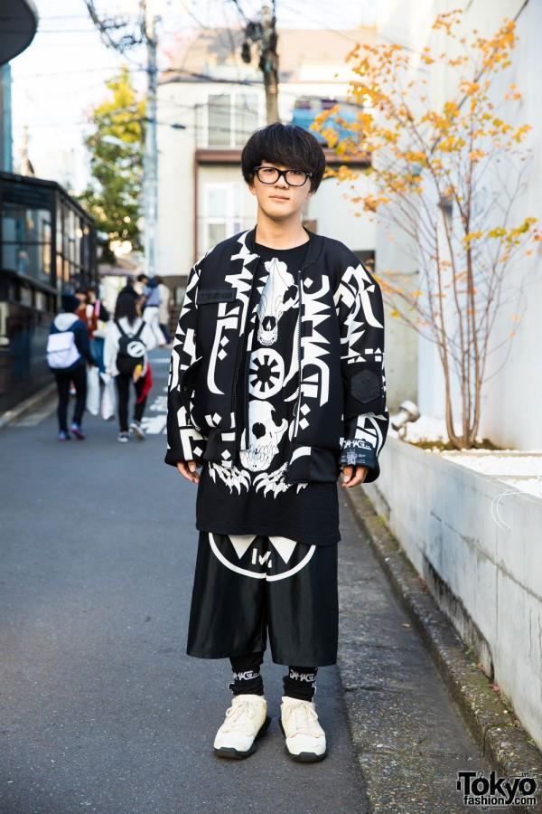 Harajuku Guy in Graphic Street Style w/ KTZ, DVMVGE & Rick Owens