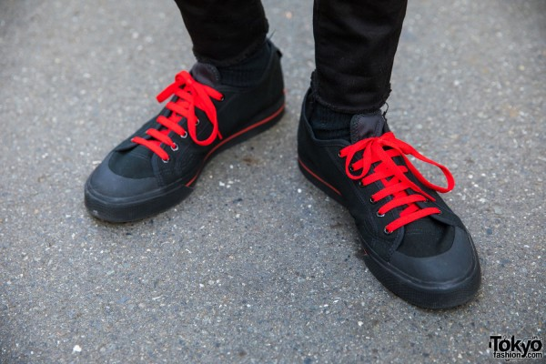 Raf Simons Black Sneakers w/ Red Laces