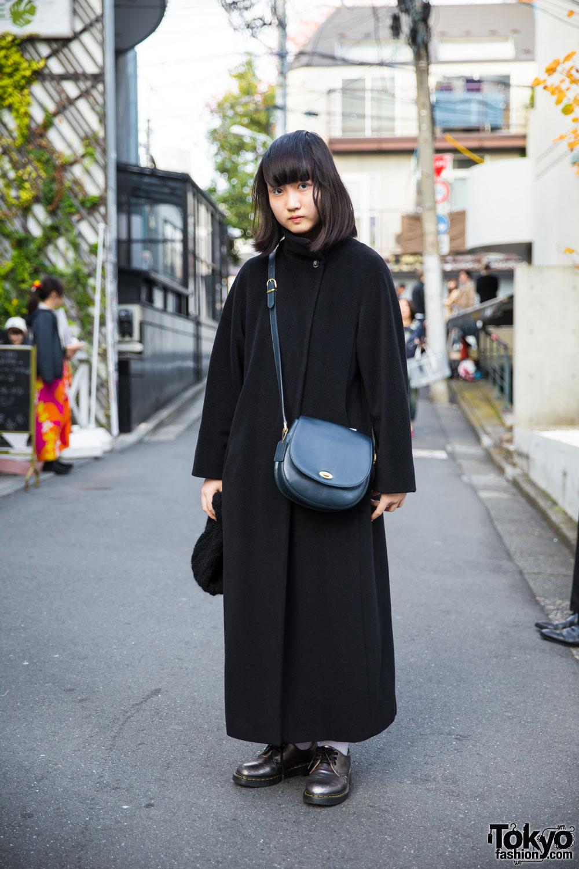 Harajuku Girl In Max Mara Maxi Coat Coach Handbag Dr Martens Boots