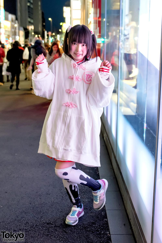 Harajuku Girl In Zzz Oversize Hoodie Nile Perch Candye