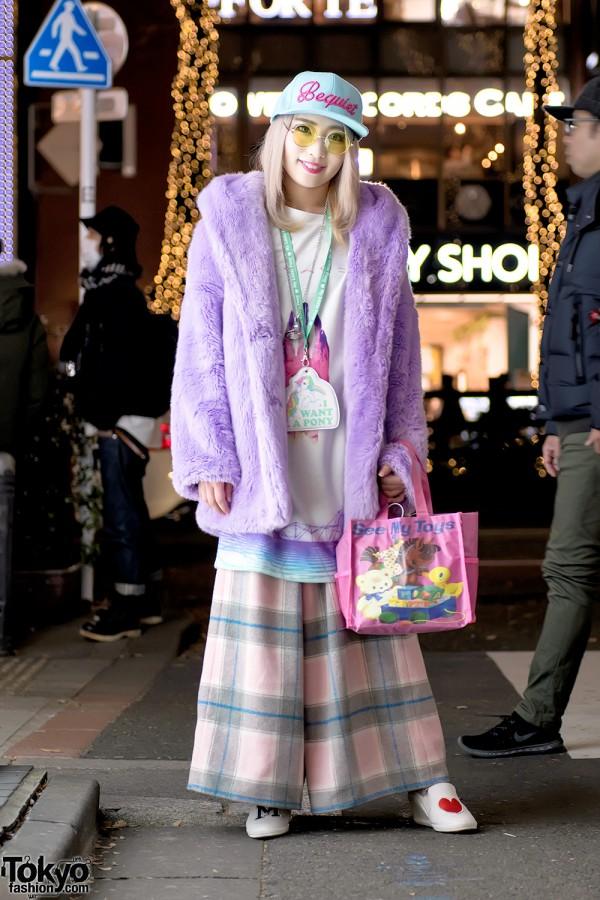 Purple Faux Fur Coat & Plaid Candy Stripper Pants