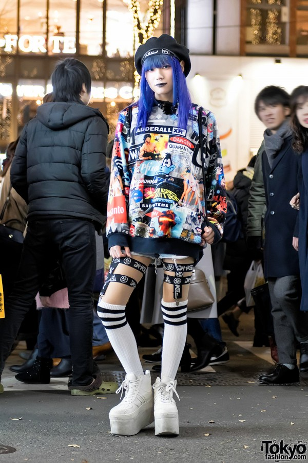 DVMVGE, Devilish & KTZ Fashion w/ Blue Hair on the Street in Harajuku