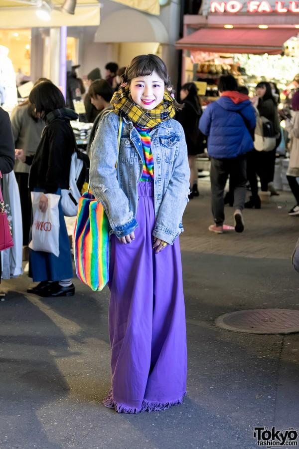 Colorful Street Style w/ Little Sunny Bite Purple Denim & Kobinai Rainbows