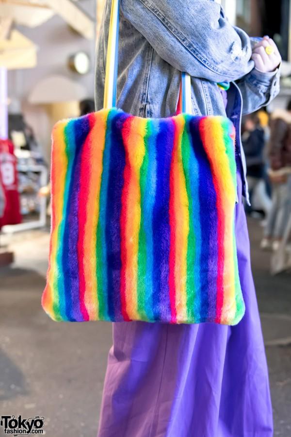 Kobinai Plush Rainbow Bag in Harajuku