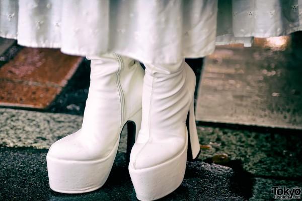 White Platform Heels in Harajuku
