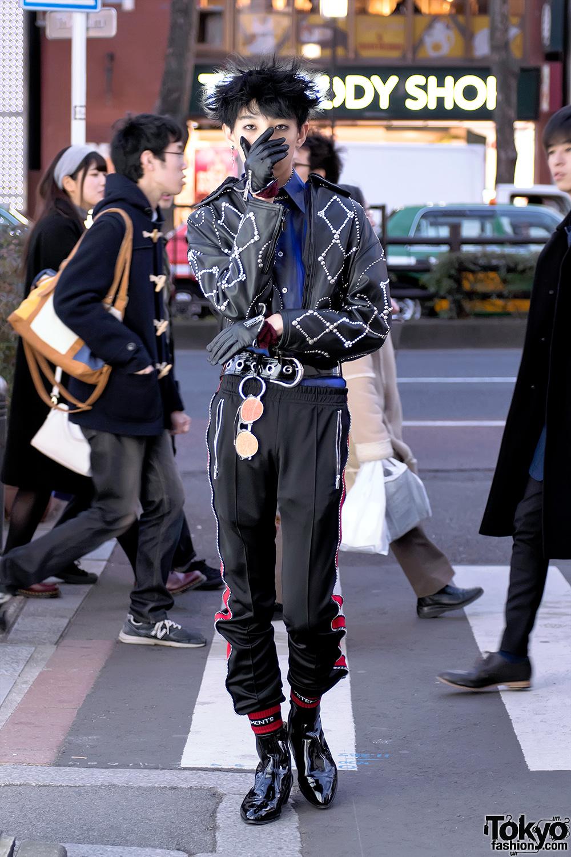 Harajuku Guy In Versace Madonna Amp Child Leather Jacket