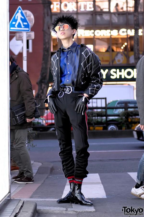 Harajuku Guy in Versace Madonna & Child Leather Jacket, YSL, 99%IS- & Alice Black