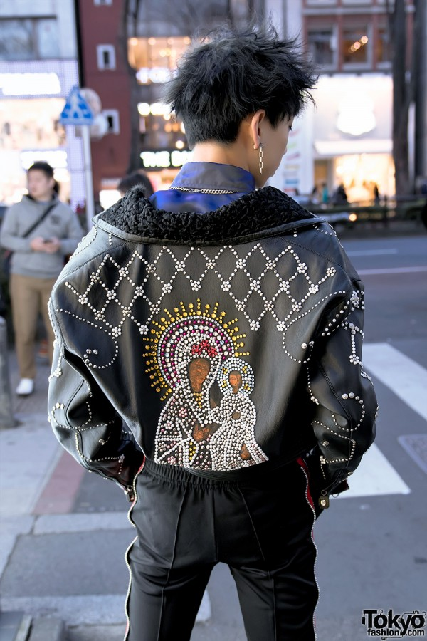 Versace Madonna and Child Leather Jacket