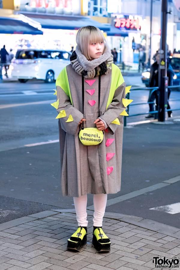 Zetsukigu Coat, Neon Platform Sandals & mercibeaucoup Bag in Harajuku