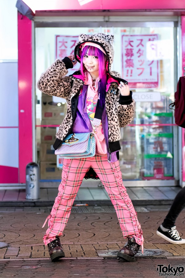 Pierced Harajuku Girl in Colorful Street Style w/ ACDC Rag, Vivienne Westwood & Yosuke