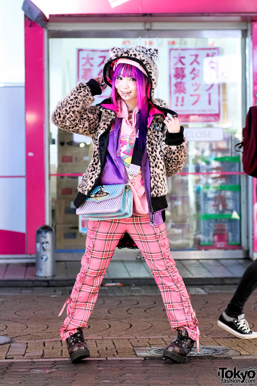 Pierced Harajuku Girl In Colorful Street Style W Acdc Rag