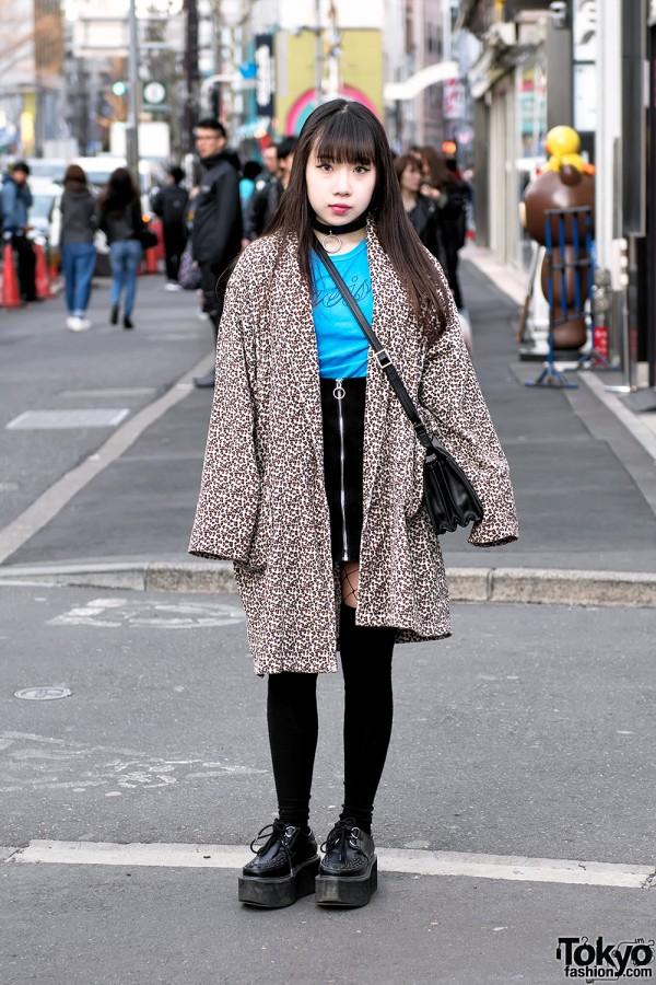 Harajuku Girl in Animal Print Coat, Choker, Front Zip Skirt, Fishnets & Creepers