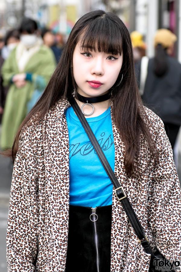 Gavial T-Shirt & O-Ring Choker in Harajuku