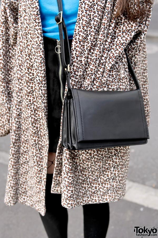 Leather Shoulder Bag & Animal Print Coat