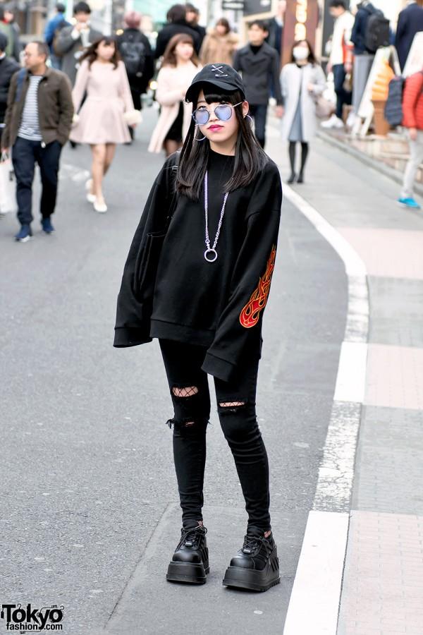 All Black Harajuku Street Style with Basic Cotton
