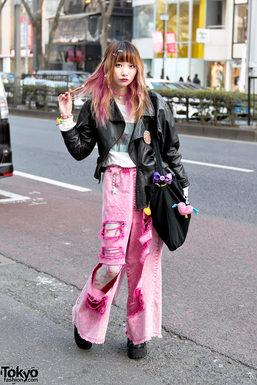 Pink Ripped Jeans Over Tights W Candy Stripper 6